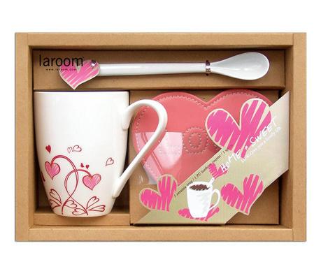Комплект чаша, лъжичка и подложка Flowers and Hearts