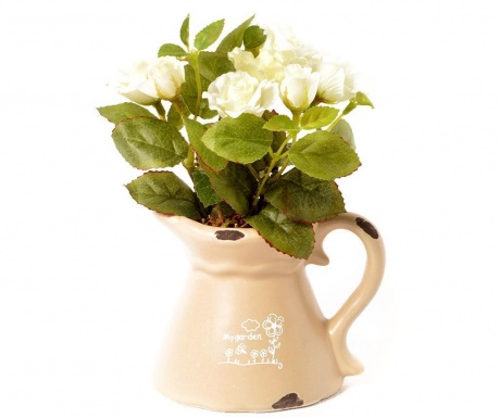 Kwiat sztuczny w doniczce Roses Blanches