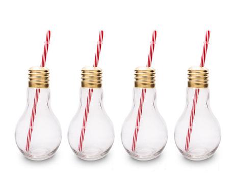 Zestaw 4 szklanek ze słomką i nakrętką Light Bulb