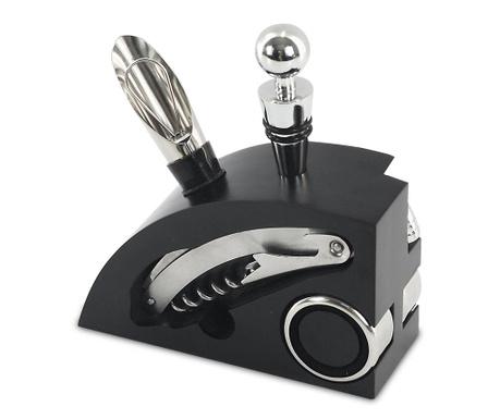 Set of 4 wine accessories and holder Elba