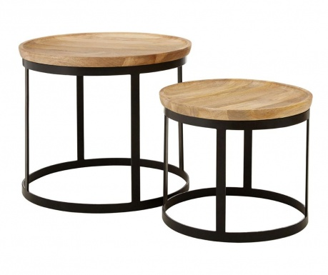 Set of 2 side tables Boho Natural