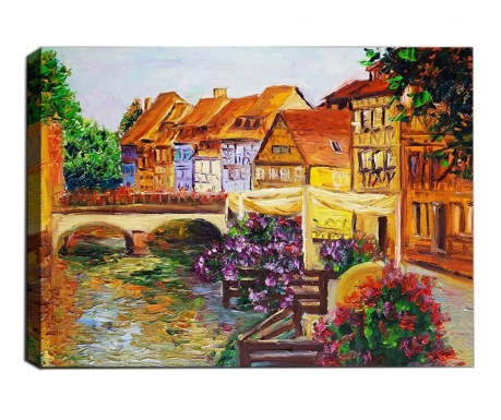 Painting 3D Small Town 50x70  cm