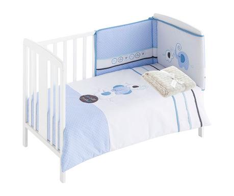 Czteroczęściowy zestaw do łóżeczka Elephant Blue