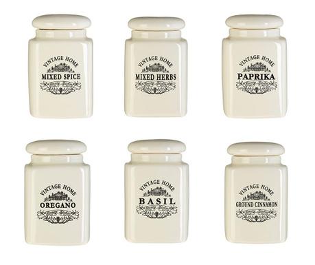 Set 6 posuda za spremanje začina s  poklopcem Vintage Home Cream