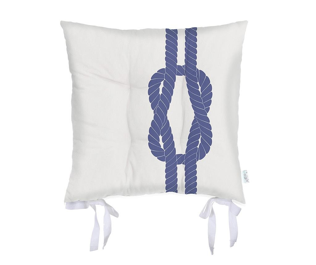 Sedežna blazina Knot White Blue 37x37 cm