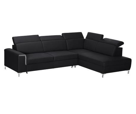 Разтегателен десен ъглов диван Serafino Black and Grey