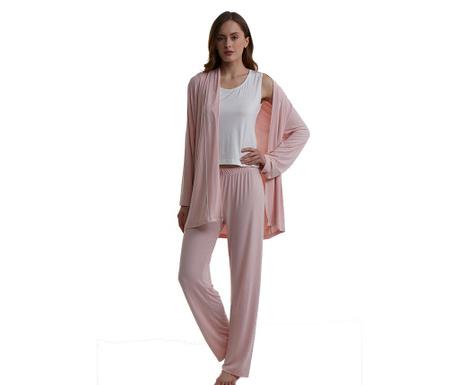 Set pijama dama si halat de casa Irene Pink Cream