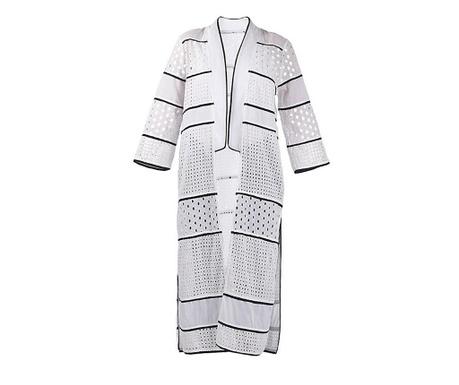 Kimono za plažo Banhi White Black L