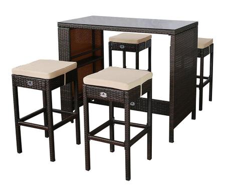 Set masa si 4 scaune de bar pentru exterior Garden Brown