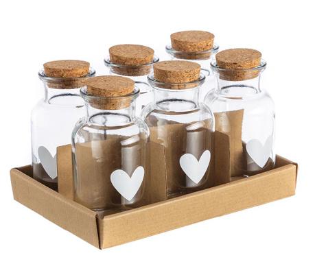 Heart 6 db Üveg tároló olajnak és ecetnek 250 ml