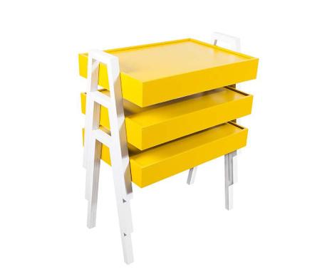 Set 3 masute  modulare Nesting Yellow and White