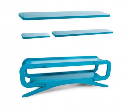 Set comoda TV si 3 polite Kuro Blue