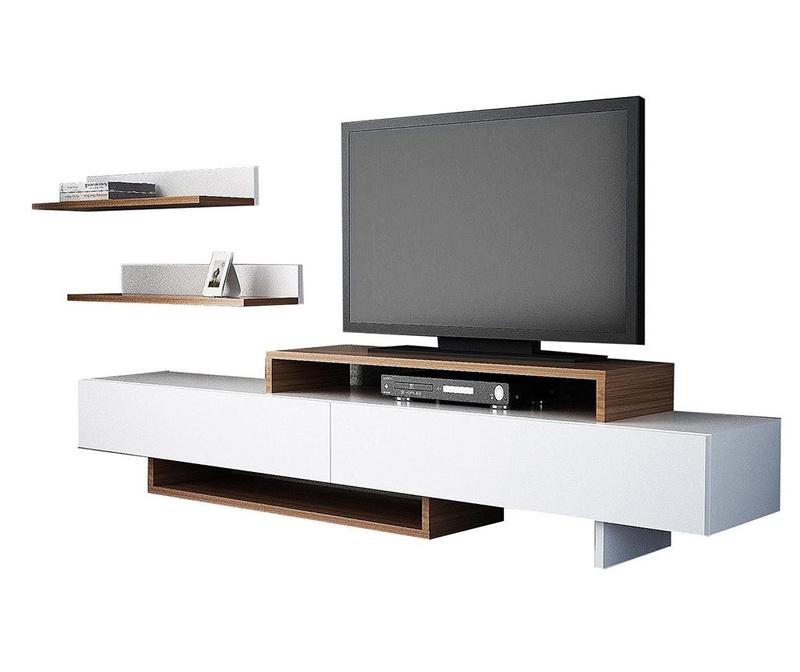 Комплект комода TV и 2 рафта Nirvana White