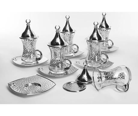 Сервиз 6 чашки с капак и 6 чинийки Evrim Silver