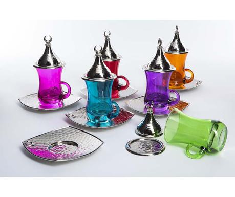 Evrim Colors 6 db Csésze fedővel és 6 db kistányér