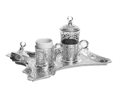 Merve Silver 5 darabos Kávéskészlet