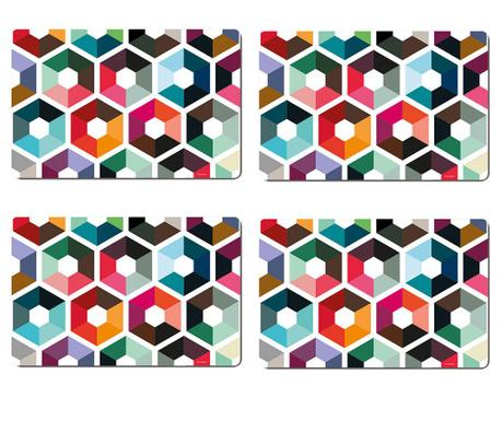 Комплект 4 подложки за хранене Hexagon 28.5x44 см