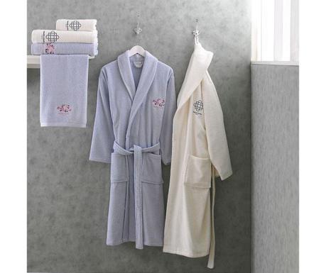 Marie Claire Blue and Cream 2 db Fürdőköpeny és 4 db fürdőszobai törölköző