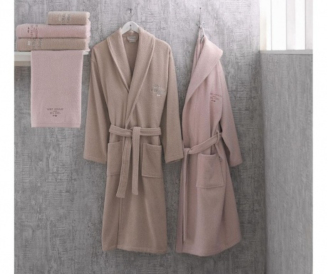 Set 2 halate si 4 prosoape de baie Azalee Pink and Beige