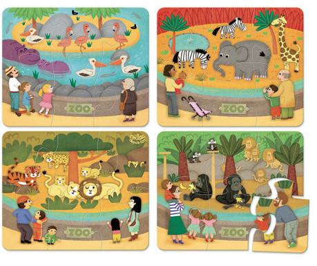 Sada 4 puzzle, 6 dílů Zoo