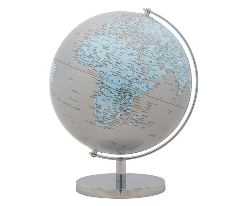 Ukras World Globe Silver Light Blue