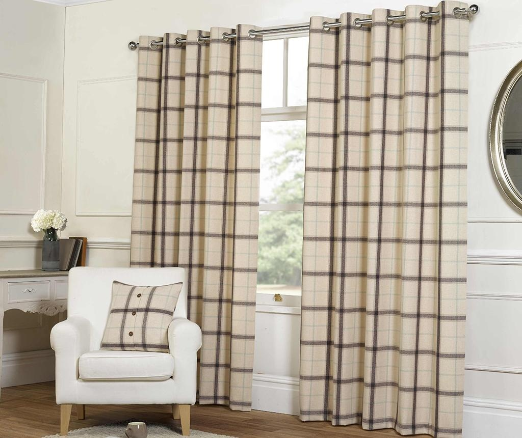 Set 2 zastora Plaid Check Natural 168x229 cm