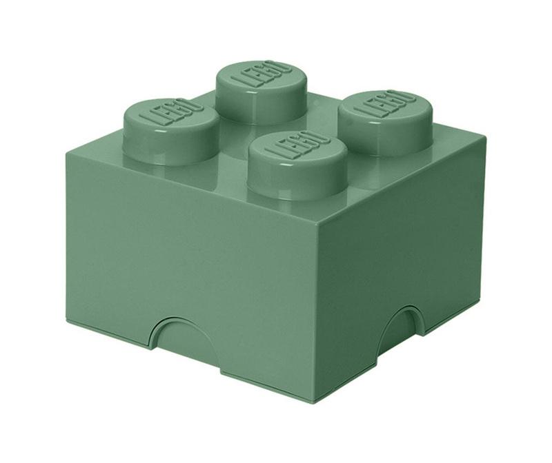 Škatla s pokrovom Lego Square Four Sand Green