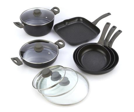 Комплект съдове за готвене 10 части Black Diamond Gray