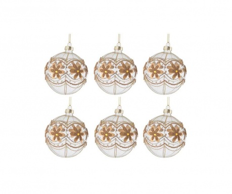 Комплект 6 декоративни топки Golden Flowers