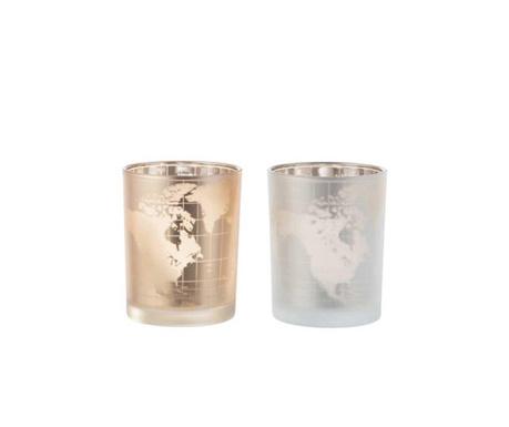Комплект 2 свещника Globe Silver and Gold