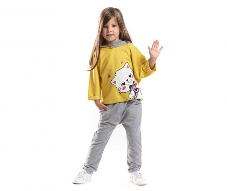 Set bluza si pantaloni White Cat Hearts