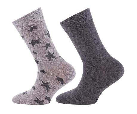Set 2 para čarapa Stars Uni Anthracite