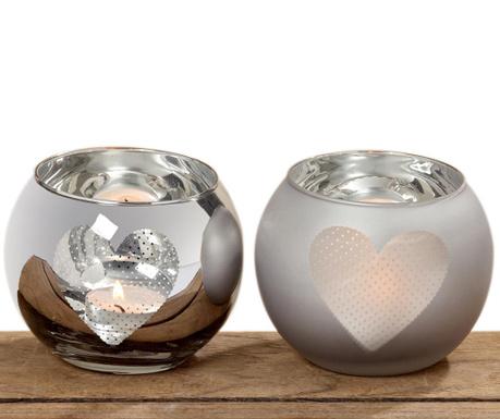 Комплект 2 свещника Dots Hearts
