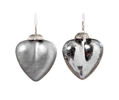 Комплект 2 висящи декорации Crackle Hearts Silver S