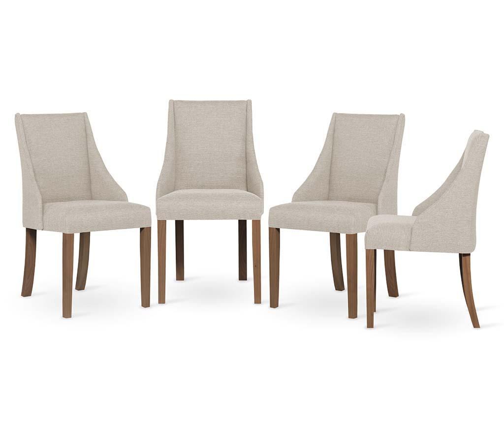 Set 4 scaune Absolu Brown Cream