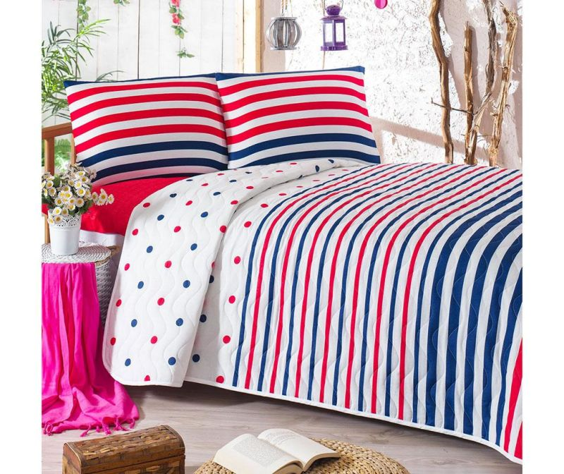 Set s prešitim posteljnim pregrinjalom Double Clup Dark Blue
