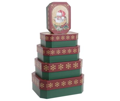 Set 5 cutii cu capac Santa in Red