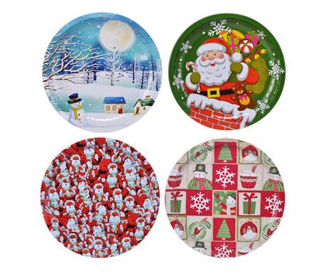 Zestaw 4 pater Christmas Plates