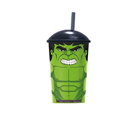 Hulk Pohár fedővel és szívószállal 400 ml