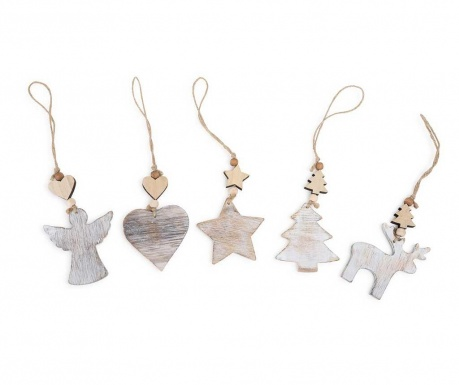 Set 5 decoratiuni suspendabile Shabby Christmas