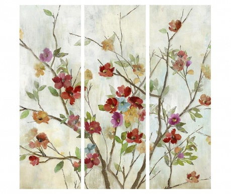 Set 3 tablouri Colorful Flowers 30x90 cm