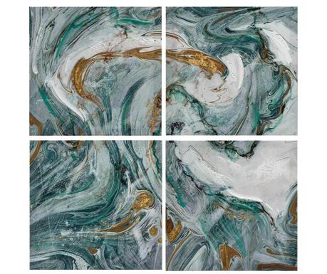 Set 4 slik Abstract Green White 30x30 cm