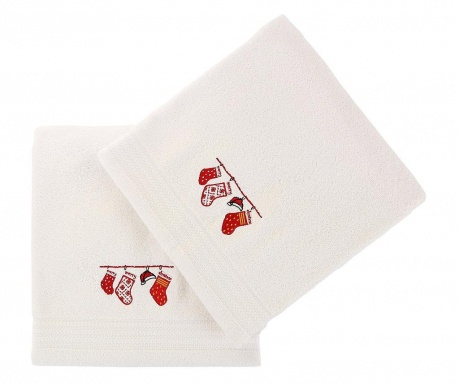 Christmas Gifts White 2 db Fürdőszobai törölköző 70x140 cm
