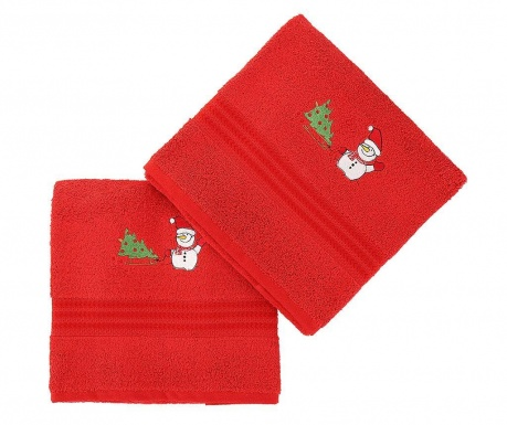 Set 2 prosoape de baie Tree and Snowman Red 70x140 cm