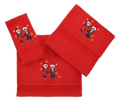 Christmas Couple Red 3 db Fürdőszobai törölköző