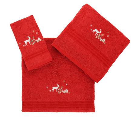 Zestaw 3 ręczników kąpielowych Christmas Reindeer Red