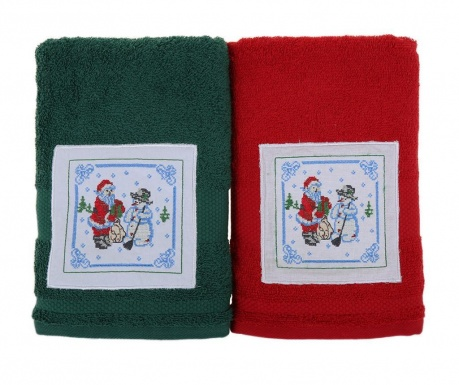 Set 2 prosoape de baie Santa and Snowman Green and Red 50x100 cm