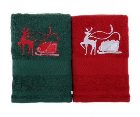 Set 2 kopalniških brisač Sled with Reindeer Green and Red 50x100 cm