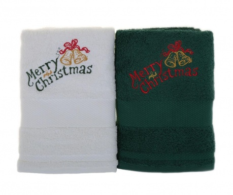 Set 2 prosoape de baie Merry Christmas White and Green 50x100 cm