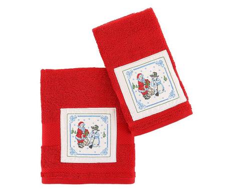 Santa and Snowman Red 2 db Fürdőszobai törölköző